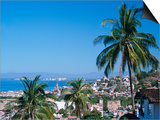 View of Downtown Puerto Vallarta and the Bay of Banderas, Mexico Prints by John & Lisa Merrill