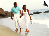 Black Couple Walking Together on the Beach Prints by Bill Bachmann