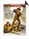 The Trumpet Calls Poster Print by Norman Lindsay