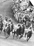 Horseracing Epsom Derby Pounce as They Come Around the Tattenham Corner Prints