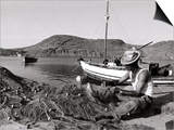 Fisherman Tends to His Nets in Greece Print