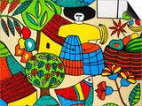 Cindy Miller Hopkins - Detail of Llort Painting, Fernando Llort Gallery, San Salvador, El Salvador - Reprodüksiyon