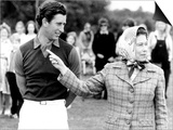 Queen Elizabeth II Shows Prince Charles Sign at a Polo Match at Windsor Great Park Points Finger Plakater