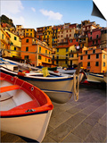 Fishing Boats at Rest in Manarola in Cinque Terre, Tuscany, Italy Posters by Richard Duval