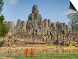 Monks Looking at Bayon Temple, Angkor, Siem Reap, Cambodia Posters
