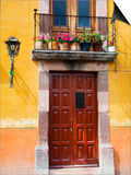 Carved Wooden Door and Balcony, San Miguel, Guanajuato State, Mexico Prints by Julie Eggers