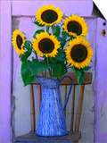 Sunflowers Displayed in Enamelware Pitcher, Willamette Valley, Oregon, USA Posters by Steve Terrill