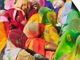 Women in Colorful Saris Gather Together, Jhalawar, Rajasthan, India Poster by Keren Su