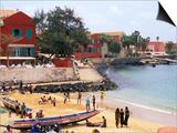 Boats and Beachgoers on the Beaches of Dakar, Senegal Art by Janis Miglavs