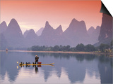 Cormorant Fisherman on Li River, China Prints by Walter Bibikow