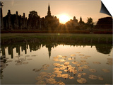 Sukhothai Ruins and Sunset Reflected in Lotus Pond, Thailand Posters by Gavriel Jecan
