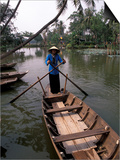 Woman Rowing, Mekong Delta, Vietnam Posters by Bill Bachmann