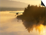 Float Plane on Beluga Lake at Dawn, Homer, Alaska, USA Posters by Adam Jones