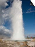 Tourists Watch Strokkur Geyser Erupting, Geysir, Iceland Prints by Don Grall