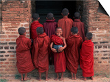 Young Monks in Red Robes with Alms Woks, Myanmar Art by Keren Su