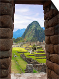 View Through Window of Ancient Lost City of Inca, Machu Picchu, Peru, South America with Llamas Poster by Miva Stock
