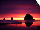 View of Haystack Rock on Cannon Beach at Sunset, Oregon, USA Art by Stuart Westmorland