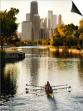 Rowers in Lincoln Park lagoon at dawn, Chicago, Illinois, USA Art by Alan Klehr