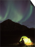 Northern Lights and Camper Outside Tent, Brooks Range, Arctic National Wildlife Refuge, Alaska, USA Prints by Steve Kazlowski