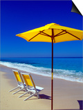 Yellow Chairs and Umbrella on Pristine Beach, Caribbean Print by Greg Johnston
