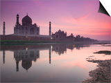 Taj Mahal From Along the Yamuna River at Dusk, India Posters by Walter Bibikow