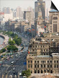 View of the Bund District Along Huangpu River, Shanghai, China Posters by Paul Souders