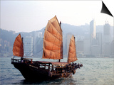 Duk Ling Junk Boat Sails in Victoria Harbor, Hong Kong, China Print by Russell Gordon
