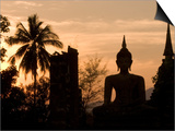 Buddha Statue and Sunset, Thailand Art by Gavriel Jecan