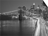 Brooklyn Bridge and Parkway, East River with Lower Manhattan Skyline, Brooklyn, New York, Usa Prints by Paul Souders