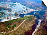 Aerial View of Victoria Falls, Waterfall, and the Zambesi River, Zimbabwe Posters af Miva Stock