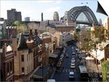 Historic Buildings and Sydney Harbor Bridge, The Rocks, Australia Posters by David Wall