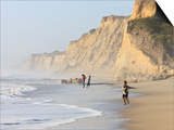 Kids Playing on Beach, Santa Cruz Coast, California, USA Prints by Tom Norring