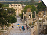 Overlook of Library with Tourists, Ephesus, Turkey Poster by Joe Restuccia III