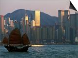Junk Sailing in Hong Kong Harbor, Hong Kong, China Poster by Paul Souders