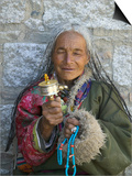 Tibetan Woman Holding Praying Wheel in Sakya Monastery, Tibet, China Prints by Keren Su