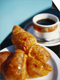 Croissant and Black Coffee on Table, St. Martin, Caribbean Posters by Greg Johnston