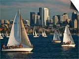 Sailboats Race on Lake Union under City Skyline, Seattle, Washington, Usa Prints by Charles Crust