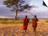 Two Maasai Morans Walking with Spears at Sunset, Amboseli National Park, Kenya Prints by Alison Jones