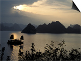Sunset on Karst Hills and Junk Boats, Ha Long Bay, Vietnam Prints by Keren Su