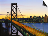 Oakland Bay Bridge at Dusk, San Francisco, California, USA Posters by David Barnes
