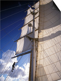 Crew Member Climbing Mast of the Star Clipper, Caribbean Print by Dave Bartruff