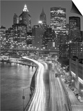 View of Parkway, East River with Lower Manhattan Skyline in Distance, Brooklyn, New York, Usa Posters by Paul Souders