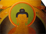 Buddha on a Thanka Painting, Tibet Print by Vassi Koutsaftis