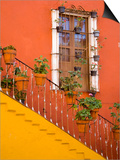 Colorful Stairs and House with Potted Plants, Guanajuato, Mexico Posters af Julie Eggers