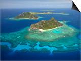 Monuriki Island and Coral Reef, Mamanuca Islands, Fiji Prints by David Wall