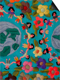 Textile with Children Holding Hands, Lake Atitlan, Western Highlands, Guatemala Plakater af Cindy Miller Hopkins
