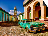 Old Worn 1958 Classic Chevy, Trinidad, Cuba Print by Bill Bachmann
