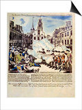 The Boston Massacre, March 5, 1770, Broadside Engraved, Printed and Sold by Paul Revere, 1770 Print