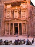 Camels at the Facade of Treasury (Al Khazneh), Petra, Jordan Prints by Keren Su