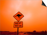 Kangaroo Crossing Road Sign, Outback Dust Storm, Rural Highway, Ivanhoe, New South Wales, Australia Prints by Paul Souders